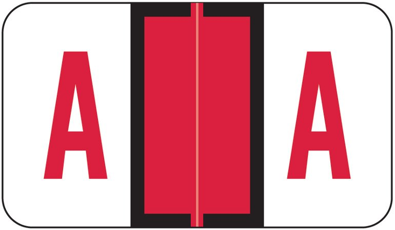 Jeter 5190 Match JXAM Series Alpha Roll Labels - Letter A - Red