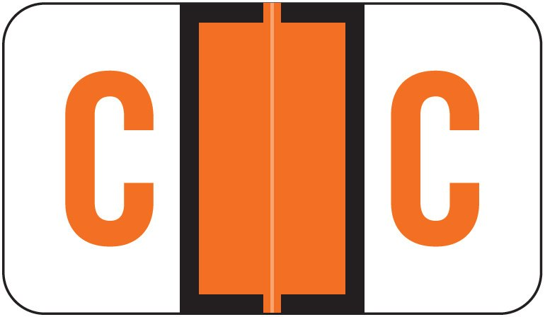 Jeter 5190 Match JXAM Series Alpha Roll Labels - Letter C - Dark Orange