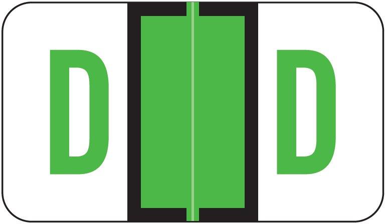 Jeter 5190 Match JXAM Series Alpha Roll Labels - Letter D - Light Green