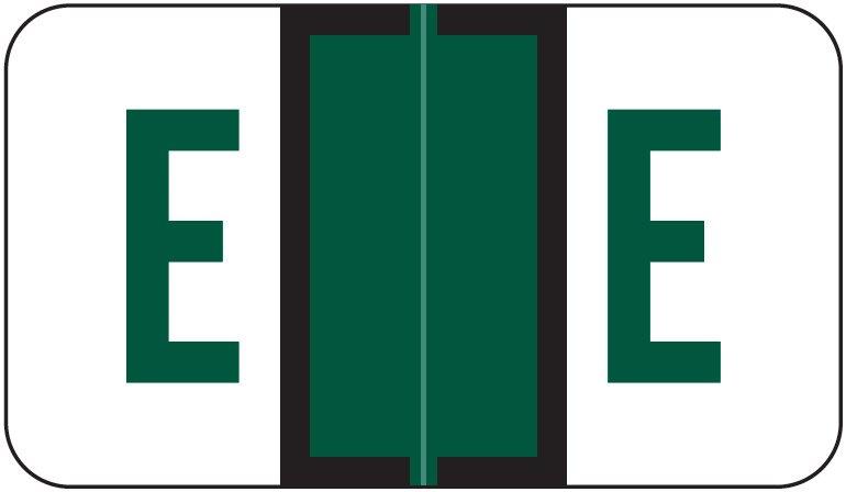 Jeter 5190 Match JXAM Series Alpha Roll Labels - Letter E - Dark Green