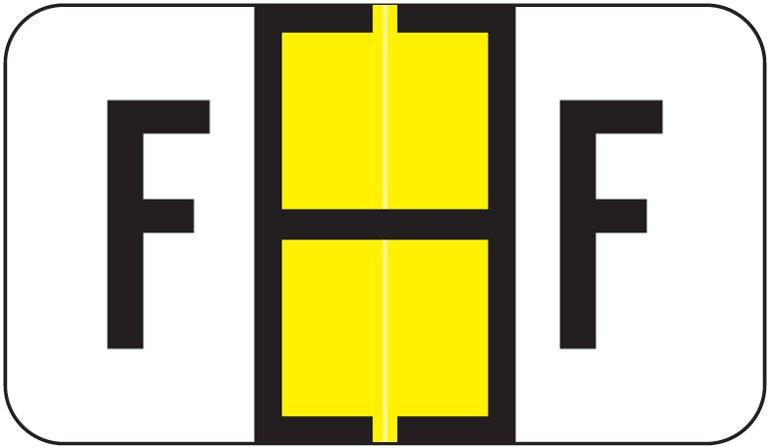 Jeter 5190 Match JXAM Series Alpha Roll Labels - Letter F - Yellow