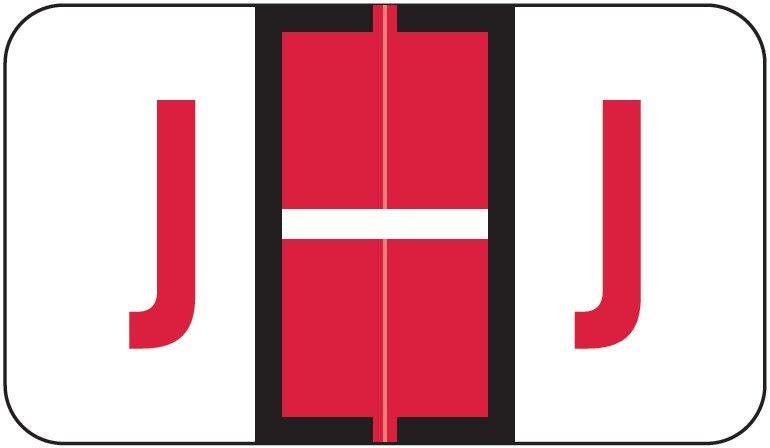 Jeter 5190 Match JXAM Series Alpha Roll Labels - Letter J - Red