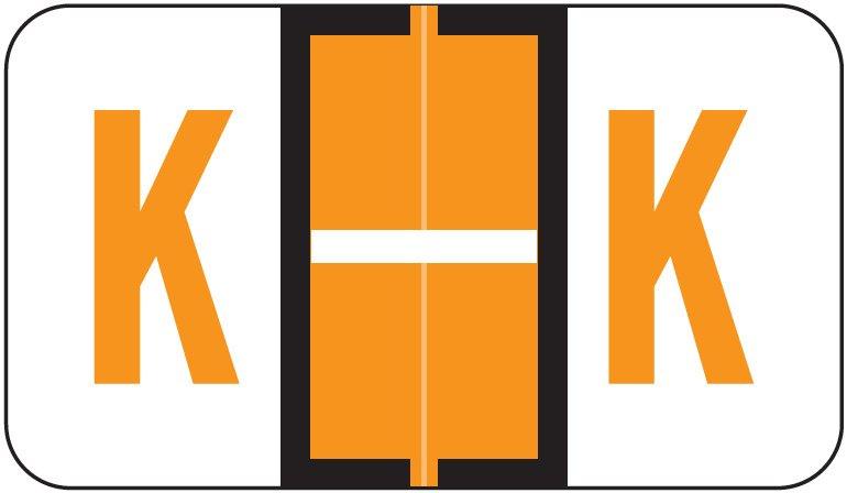 Jeter 5190 Match JXAM Series Alpha Roll Labels - Letter K - Light Orange