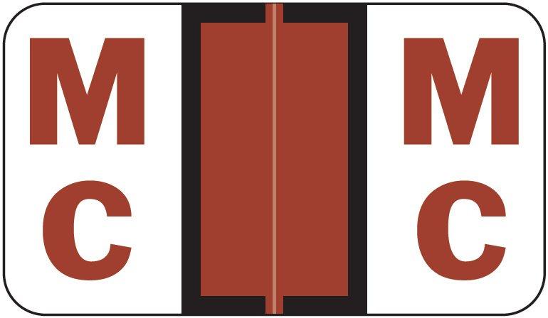 Jeter 5190 Match JXAM Series Alpha Roll Labels - Letter Mc - Brown