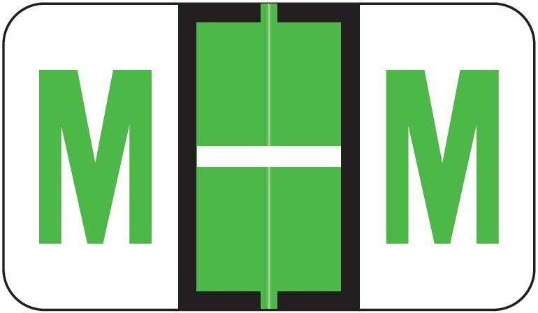 Jeter 5190 Match JXAM Series Alpha Roll Labels - Letter M - Light Green
