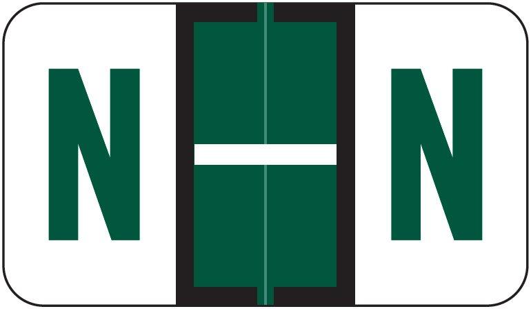 Jeter 5190 Match JXAM Series Alpha Roll Labels - Letter N - Dark Green