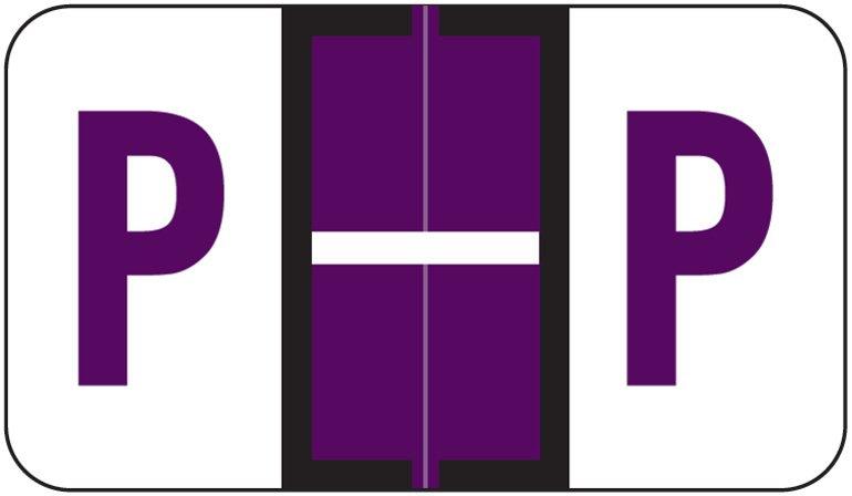 Jeter 5190 Match JXAM Series Alpha Roll Labels - Letter P - Purple