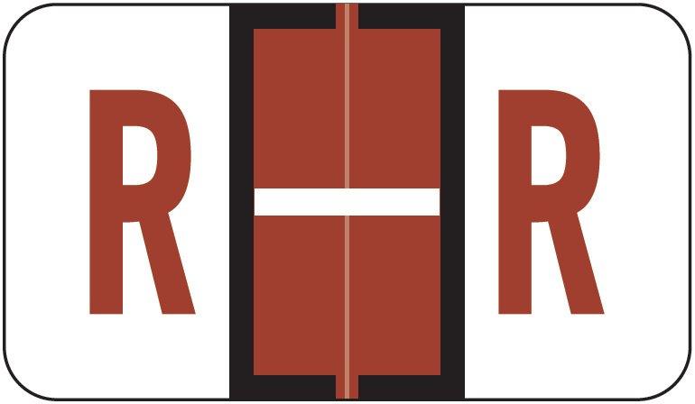 Jeter 5190 Match JXAM Series Alpha Roll Labels - Letter R - Brown