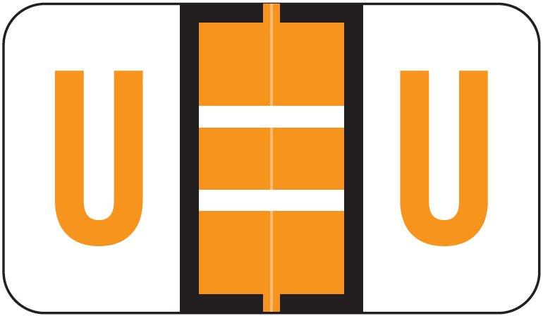Jeter 5190 Match JXAM Series Alpha Roll Labels - Letter U - Light Orange