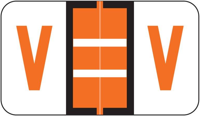 Jeter 5190 Match JXAM Series Alpha Roll Labels - Letter V - Dark Orange