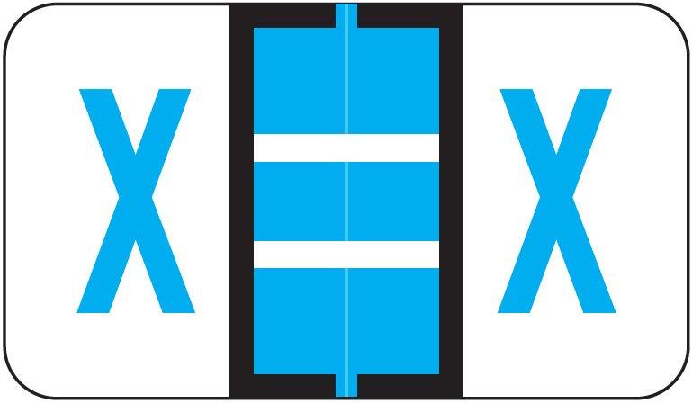 Jeter 5190 Match JXAM Series Alpha Roll Labels - Letter X - Blue