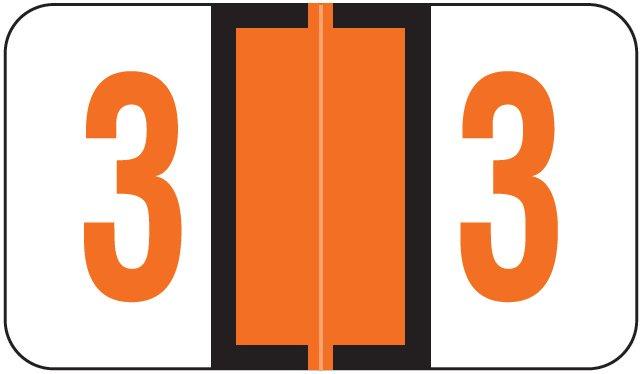 Jeter 6190 Match JXNM Series Numeric Roll Labels - Number 3 - Dark Orange