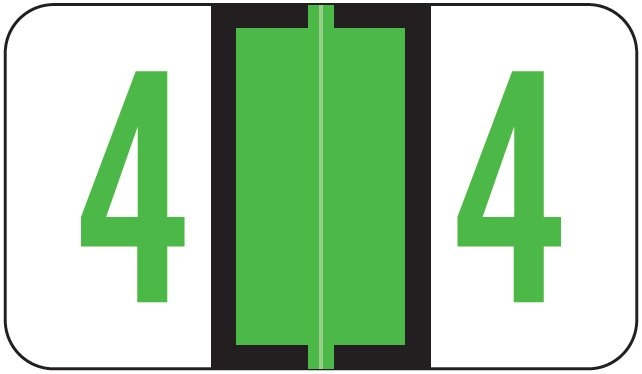 Jeter 6190 Match JXNM Series Numeric Roll Labels - Number 4 - Light Green