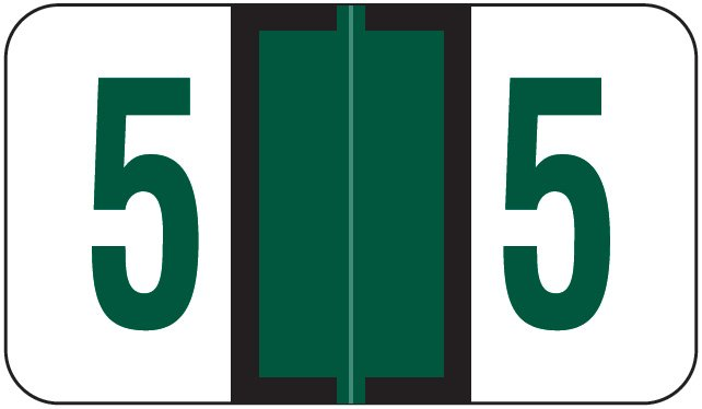 Jeter 6190 Match JXNM Series Numeric Roll Labels - Number 5 - Dark Green