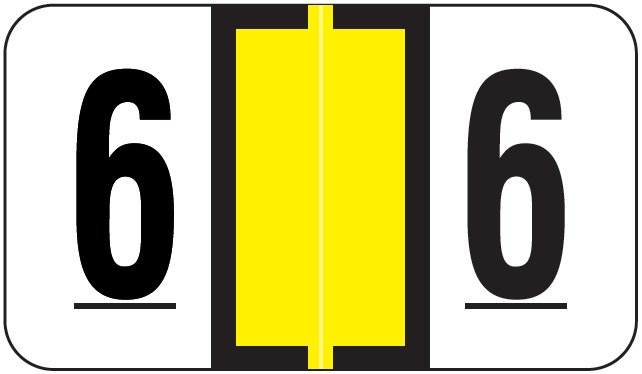 Jeter 6190 Match JXNM Series Numeric Roll Labels - Number 6 - Yellow