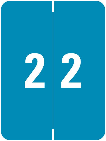 Kardex Match KDNM Series Numeric Roll Labels - Number 2 - Blue