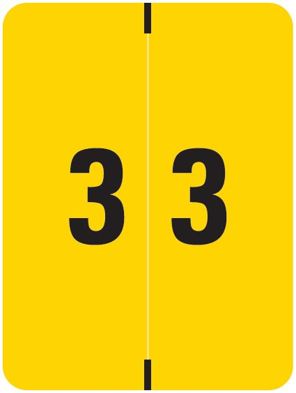 Kardex Match KDNM Series Numeric Roll Labels - Number 3 - Yellow