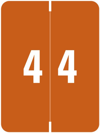Kardex Match KDNM Series Numeric Roll Labels - Number 4 - Brown