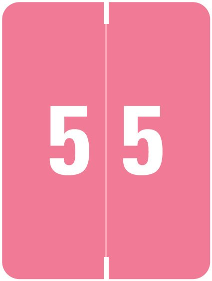 Kardex Match KDNM Series Numeric Roll Labels - Number 5 - Pink