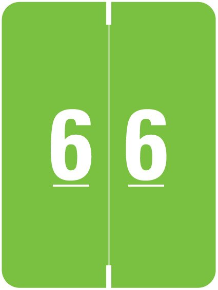 Kardex Match KDNM Series Numeric Roll Labels - Number 6 - Green