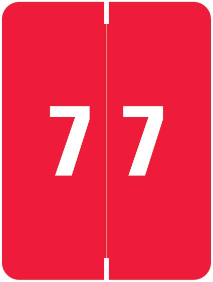 Kardex Match KDNM Series Numeric Roll Labels - Number 7 - Red