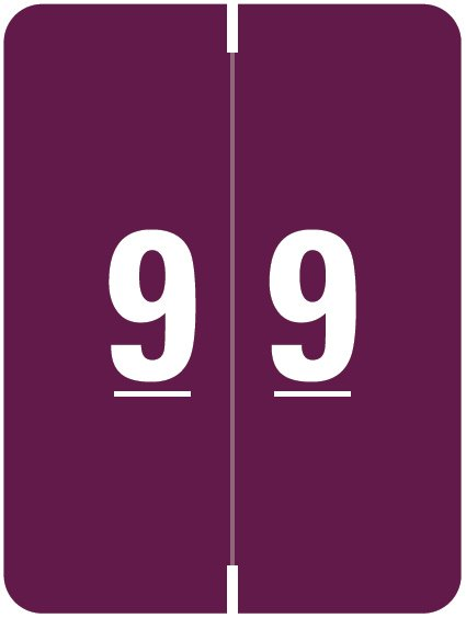 Kardex Match KDNM Series Numeric Roll Labels - Number 9 - Purple