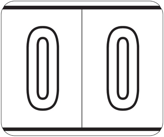 Kardex PSF-138 Match KXNM Series Numeric Roll Labels - Number 0 - White