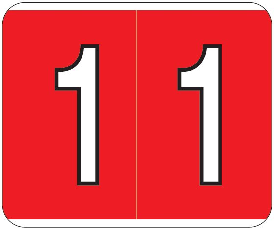Kardex PSF-138 Match KXNM Series Numeric Roll Labels - Number 1 - Red