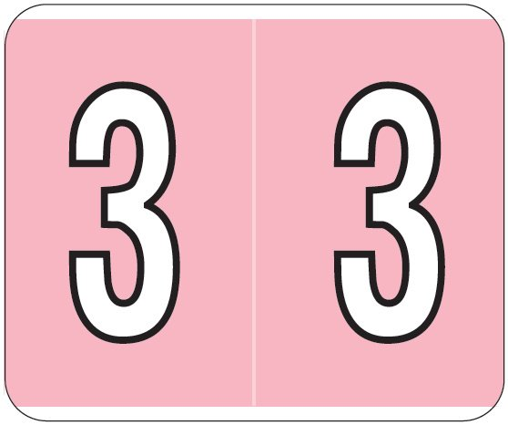 Kardex PSF-138 Match KXNM Series Numeric Roll Labels - Number 3 - Pink