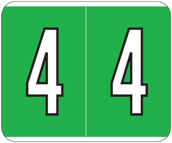 Kardex PSF-138 Match KXNM Series Numeric Roll Labels - Number 4 - Green