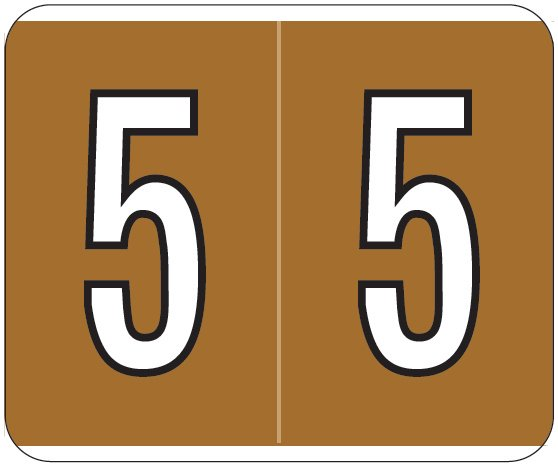 Kardex PSF-138 Match KXNM Series Numeric Roll Labels - Number 5 - Brown