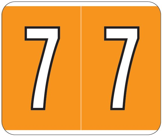 Kardex PSF-138 Match KXNM Series Numeric Roll Labels - Number 7 - Orange