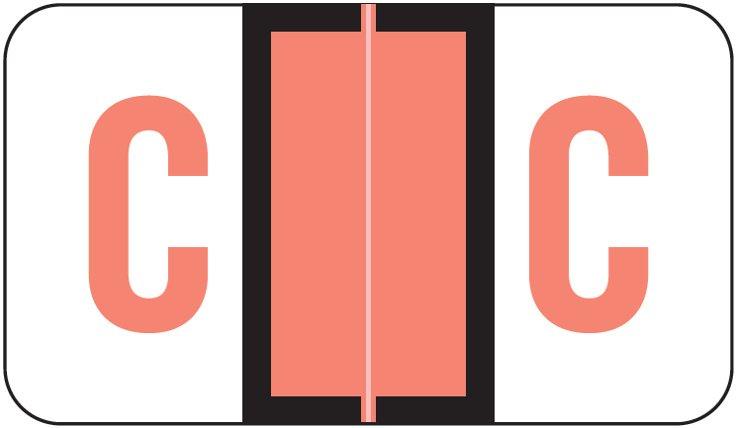 POS 3400 Match POAM Series Alpha Roll Labels - Letter C - Pink