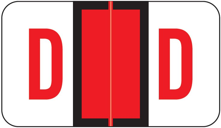 POS 3400 Match POAM Series Alpha Roll Labels - Letter D - Red