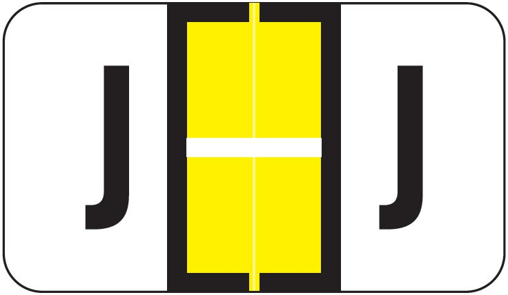 POS 3400 Match POAM Series Alpha Roll Labels - Letter J - Yellow