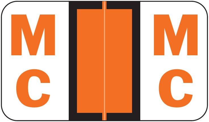 POS 3400 Match POAM Series Alpha Roll Labels - Letter Mc - Orange