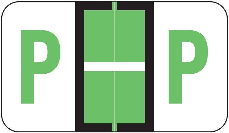 POS 3400 Match POAM Series Alpha Roll Labels - Letter P - Light Green
