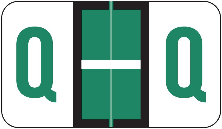 POS 3400 Match POAM Series Alpha Roll Labels - Letter Q - Dark Green
