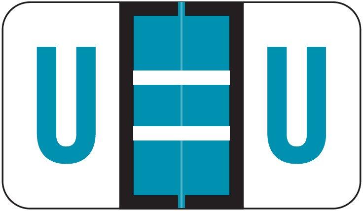POS 3400 Match POAM Series Alpha Roll Labels - Letter U - Blue