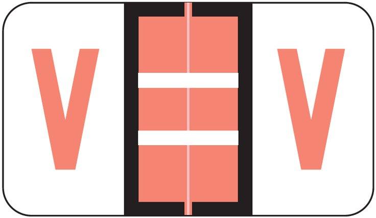 POS 3400 Match POAM Series Alpha Roll Labels - Letter V - Pink