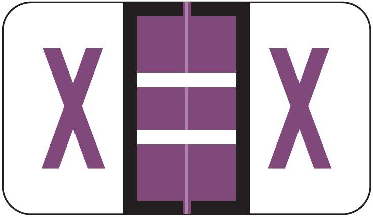 POS 3400 Match POAM Series Alpha Roll Labels - Letter X - Purple
