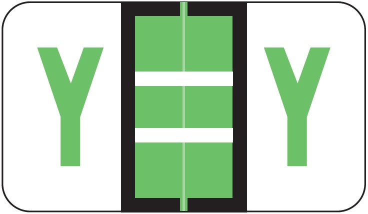POS 3400 Match POAM Series Alpha Roll Labels - Letter Y - Light Green