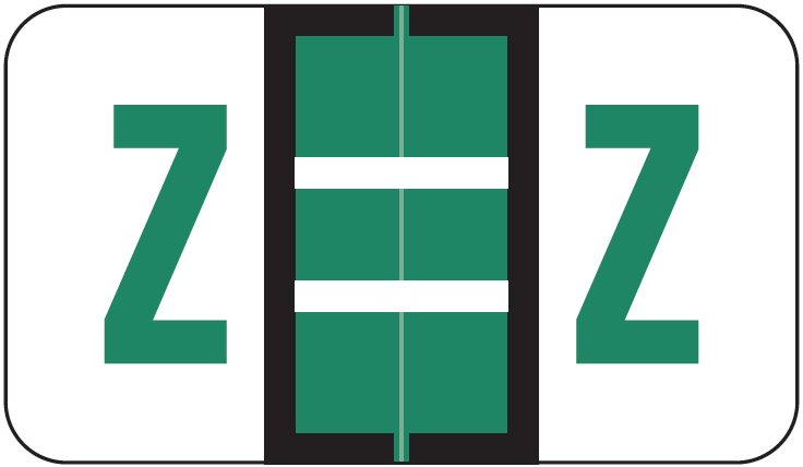 POS 3400 Match POAM Series Alpha Roll Labels - Letter Z - Dark Green