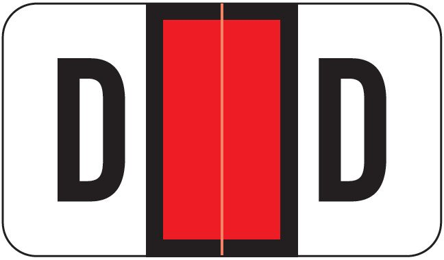 POS 2000 Match PP3R Series Alpha Sheet Labels - Letter D - Red