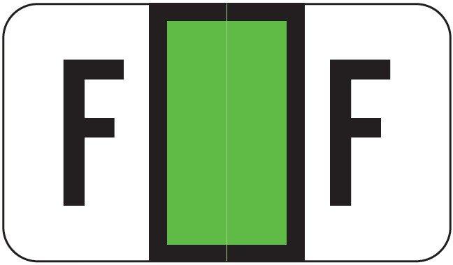 POS 2000 Match PP3R Series Alpha Sheet Labels - Letter F - Light Green