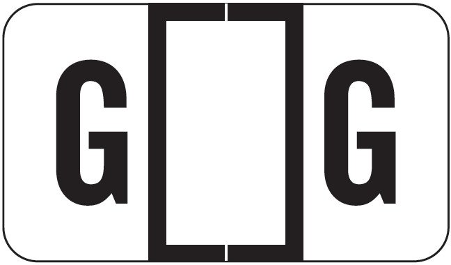 POS 2000 Match PP3R Series Alpha Sheet Labels - Letter G - White