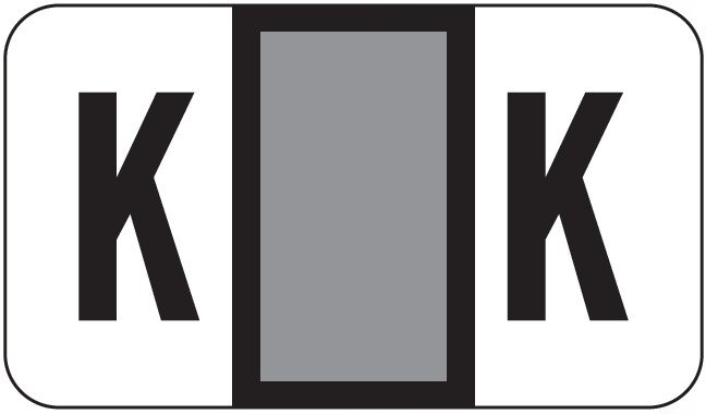 POS 2000 Match PP3R Series Alpha Sheet Labels - Letter K - Gray