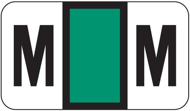 POS 2000 Match PP3R Series Alpha Sheet Labels - Letter M - Dark Green