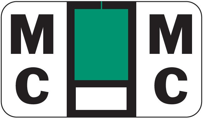 POS 2000 Match PP3R Series Alpha Sheet Labels - Letter Mc - Dark Green and White