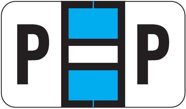 POS 2000 Match PP3R Series Alpha Sheet Labels - Letter P - Light Blue and White